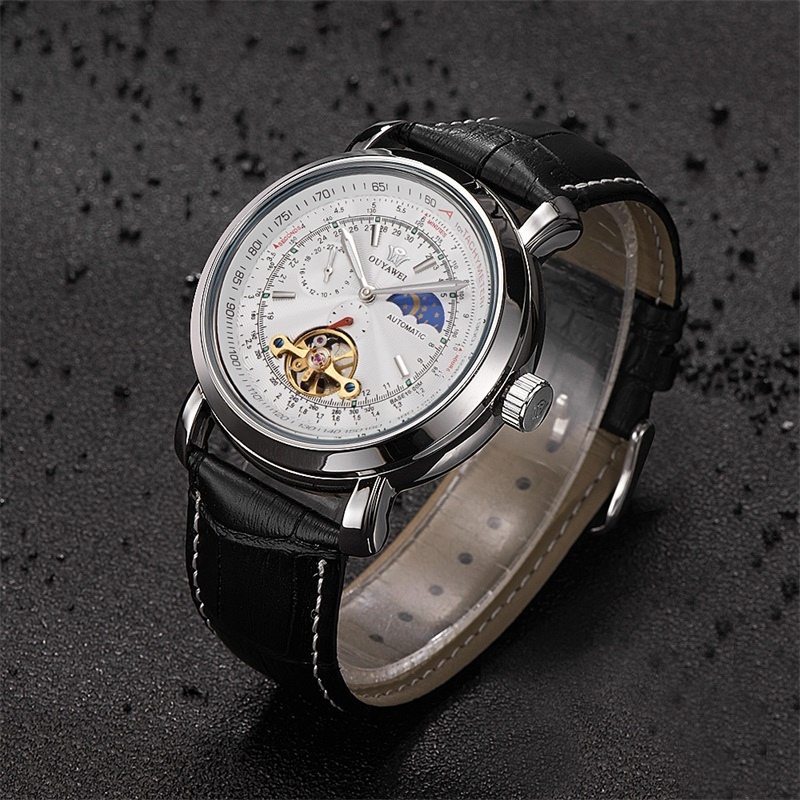 Ouyawei メンズ腕時計高級トゥールビヨンムーンフェイズ自動機械式ホワイトダイヤルリロイやつ Automatico