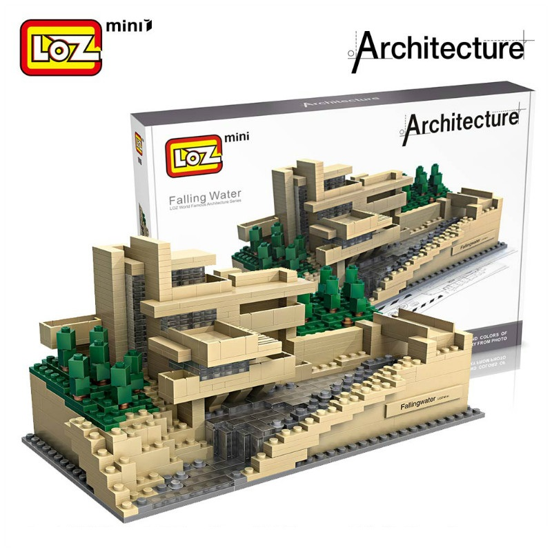LOZ 3D Blocks Falling Water Villa Model House Bricks Mini Building Blocks For Children loz blocos building blocks architecture model rockefeller center toys for children forge world city house buildings bricks 1003