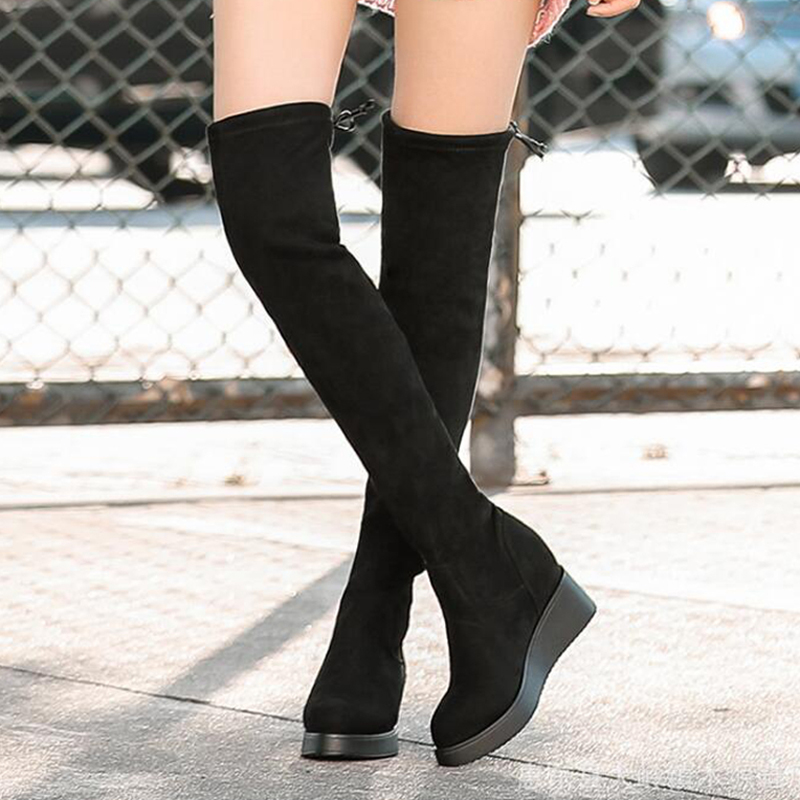 Size 34-40 2018 New Shoes Women Boots Black Over the Knee Boots Sexy Female Autumn Winter lady Thigh High Boots