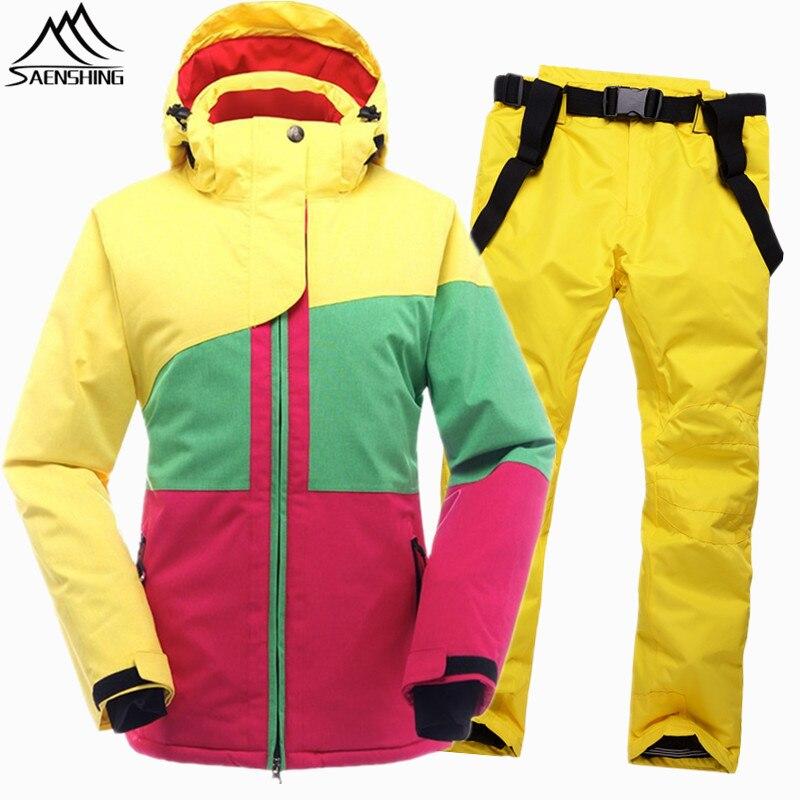 SAENSHING Hiver Combinaison De Ski Féminin Femmes Étanche Veste de Ski Snowboard Pantalon Thermique Respirant Pas Cher En Plein Air Montagne Ski Ensemble