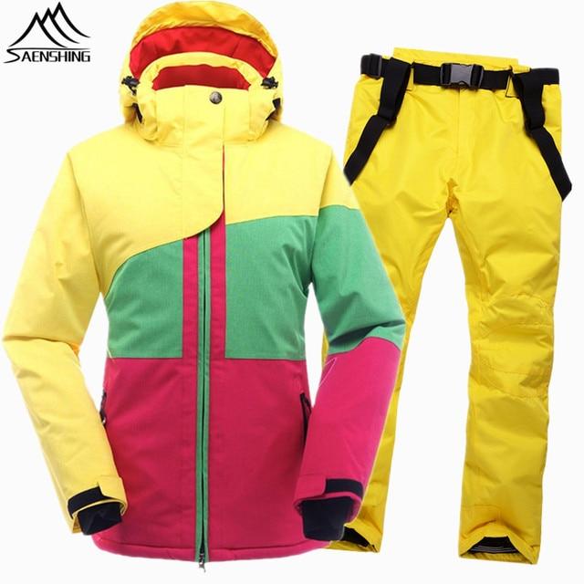 SAENSHING зимний лыжный костюм Женский водостойкий лыжный жакет сноуборд брюки Термо дышащий дешевый открытый горный лыжный комплект