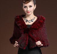 Moda 100% genuino Punto de visón con flor novia invierno de lujo caliente Punto de visón mantón del poncho del Cabo