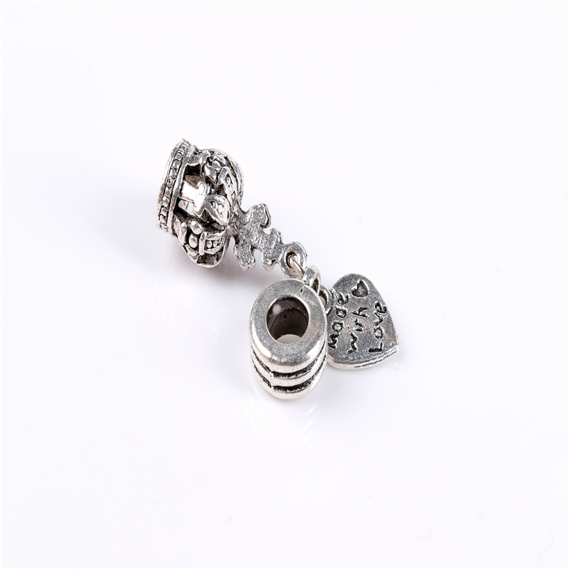 2017 Fashion Metal Zinc Alloy araneid Crown Hearts beads fit Pandora Charms Vintage Silver Diy Big Hole beads Bracelets Charms