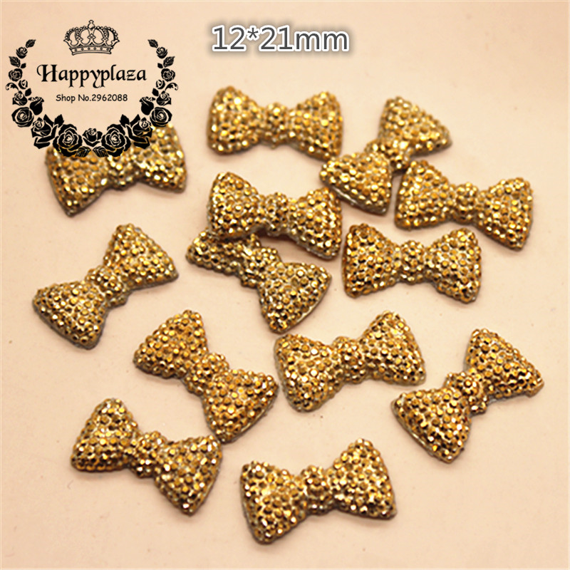 50pcs 12*21mm Golden Bling Resin Dotted Bow Rhinestone Flatback Cabochon DIY Wedding Decoration Craft