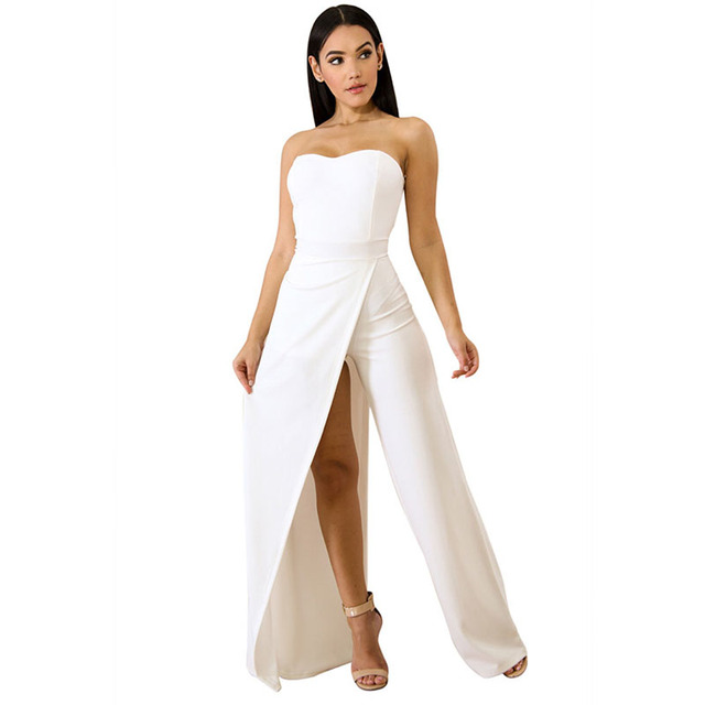 6c26a05f23d Ladies White Red Spring Strapless Open Leg Jumpsuit Off Cold Shoulder Maxi  Asymmetric Front Split Romper For Women 3 Colors