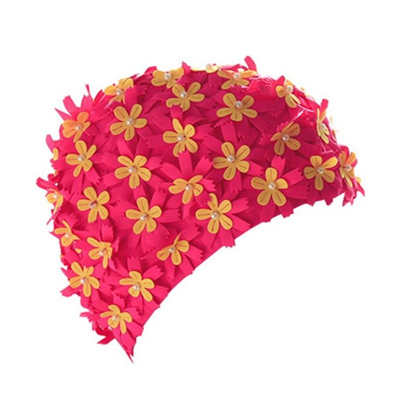 Ladies Floral Print Pearl Diamond Swimming Cap Sports Surf Swim Pool Shower Cap