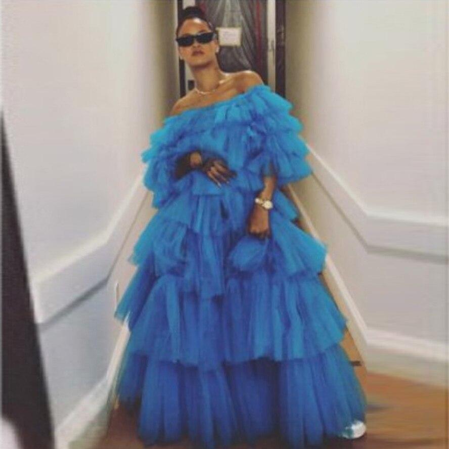 Erstaunliche Ballkleid Puffy Tüll Prom Formalen Kleid Royal Blue Layered Tüll Bodenlangen Abendkleid Party Kleid Mode Prom Tragen