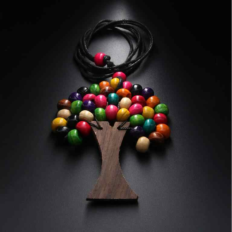 Newest Handmade Tree Of Life Rainbow Wooden Beads Pendant Necklaces Bohemia Ethnic Long Statement Necklaces Brincos Bijoux N5059