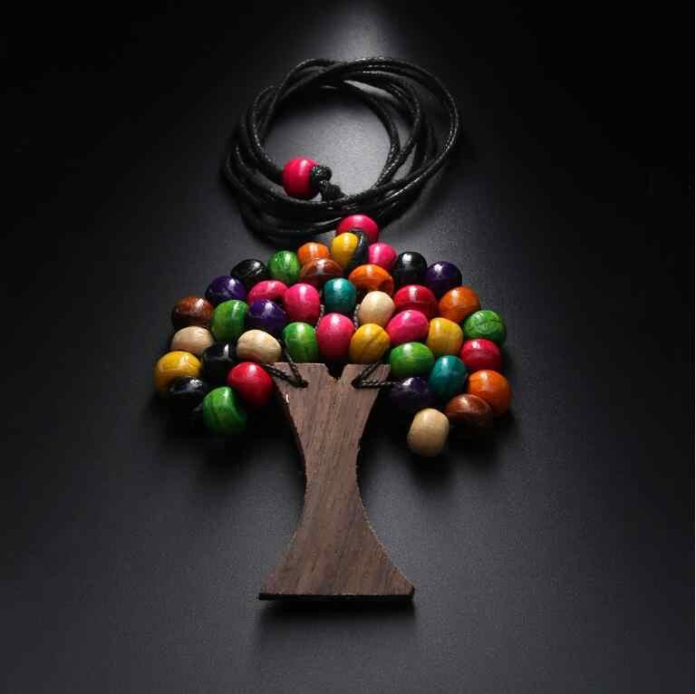 Newest Handmade Tree Of Life Rainbow Wooden Beads Pendant Necklaces Bohemia Ethnic Long Statement Necklaces Brincos Bijoux N5059