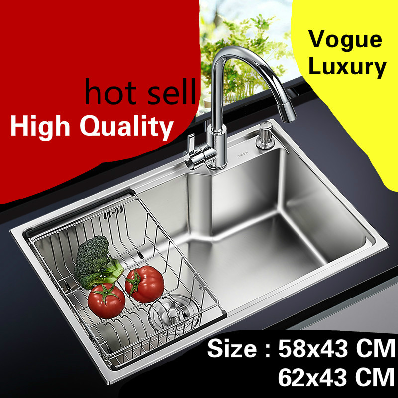 Free shipping Apartment luxury do the dishes kitchen single trough sink high quality 304 stainless steel hot sell 58x43/62x43 CM