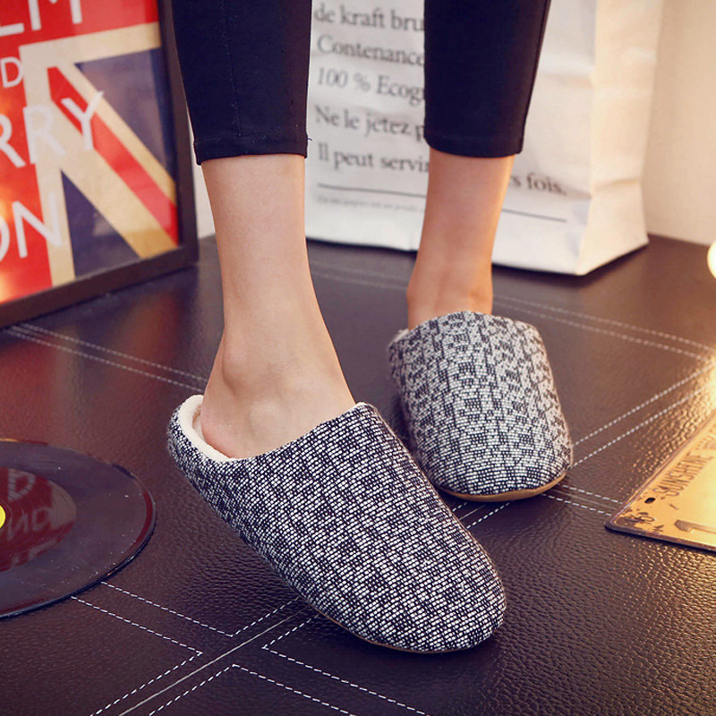 Women Winter Home Slippers Slip on Winter Warm House Slippers Indoor Bedroom Shoes Women Couple Zapatillas Mujer Plus Size 44 bow slippers women winter warm slippers ladies flats shoes women indoor home slippers home shoes for women zapatillas mujer 2018