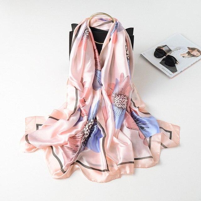 biggest discount good looking best place Foulard en soie crème solaire serviette de plage femme décoration foulard  châle luxurychâle imprimé Floral version la dame