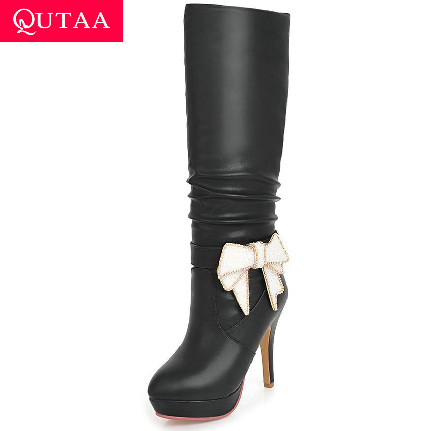 QUTAA 2020 Fashion Butterfly-Knot Mid Calf Boots All Match Platform PU Leather Round Toe Thin Heel Winter Women Shoes Size 34-43QUTAA 2020 Fashion Butterfly-Knot Mid Calf Boots All Match Platform PU Leather Round Toe Thin Heel Winter Women Shoes Size 34-43