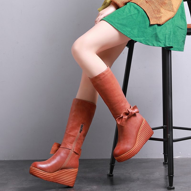 2019 VALLU Women Winter Shoes Boots Genuine Leather Wedges Boots Bowties Side Zipper Ladies Knee High