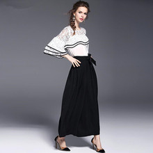 Fairy Dreams Two Piece Set White Lace Shirt Tops And Pant Suits The Feminine 2017 Spring Summer Style Women's Black Trousers