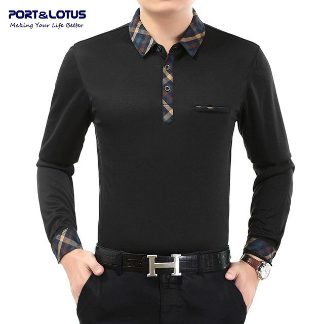 Port&Lotus Polo Shirt Men Brand Clothing Polos Brand Solid Color Long Sleeve Turn Down Collar Cheap Polo Shirt JSL 005 1308A