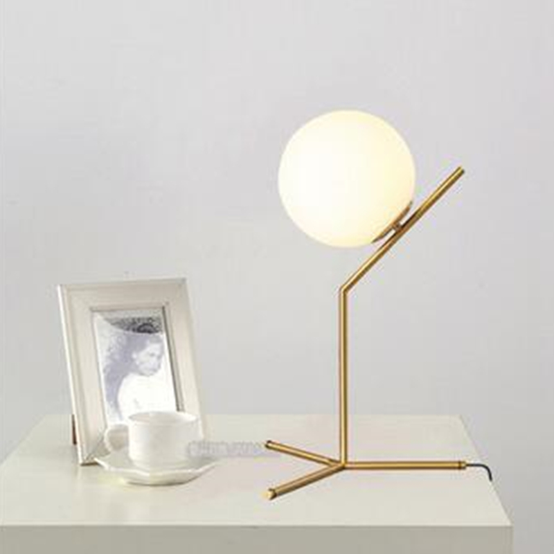 2017 New Modern Nordic Creative Table Lamps Round White Glass Shade Table  Lamparas Golden Metal Stick Bedside Adornment Lighting In LED Table Lamps  From ...