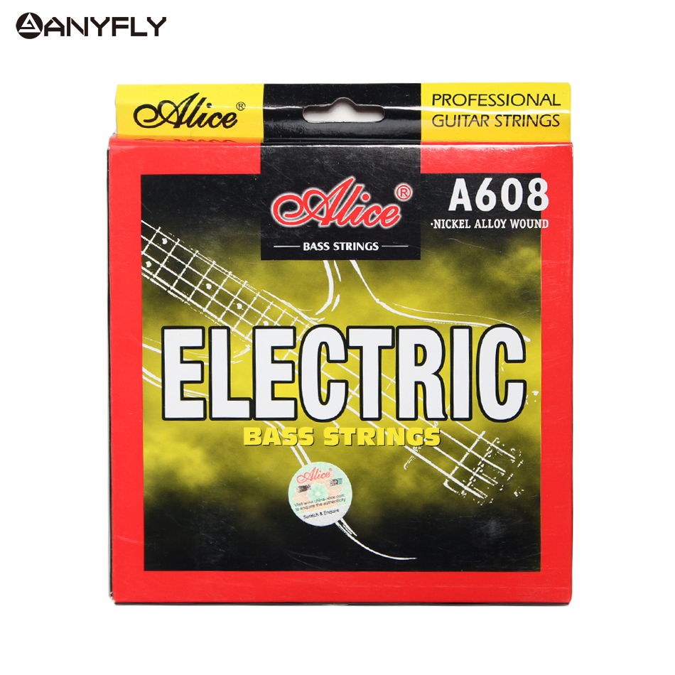Alice A608 Electric Bass String 4 string set Hexagonal Core Nickel Alloy Wound M-L For Choose alice a628 fretless 4 electric bass strings full set 4 strings hexagonal core nickel alloy wound gold ball end