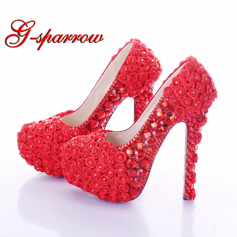 Red Super High Heel Rose Flower Bridal Dress Shoes Rhinestone Wedding Party Prom Shoes Lady Platform Heels Women High Heel Shoes cinderella high heels crystal wedding shoes 14cm thin heel rhinestone bridal shoes round toe formal occasion prom shoes