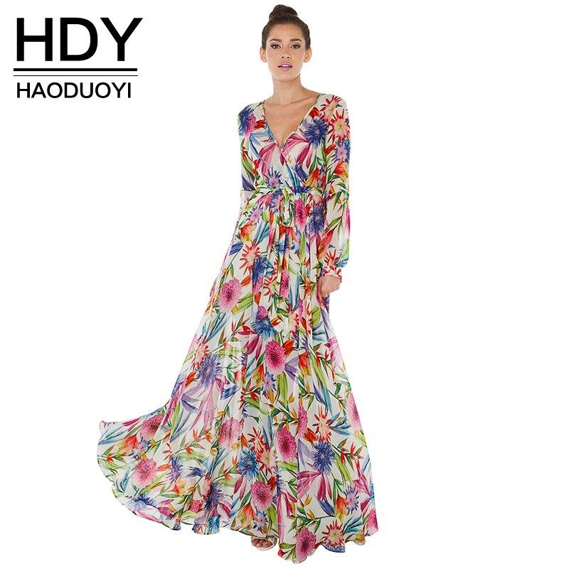 Hdy haoduoyi múltiples mujeres maxi vestidos de manga larga con cuello en v alta