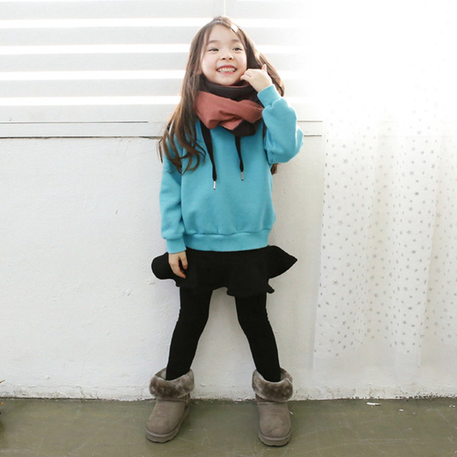 Children with cashmere sweater coat winter Korean girls warm side zipper shirt  one generation
