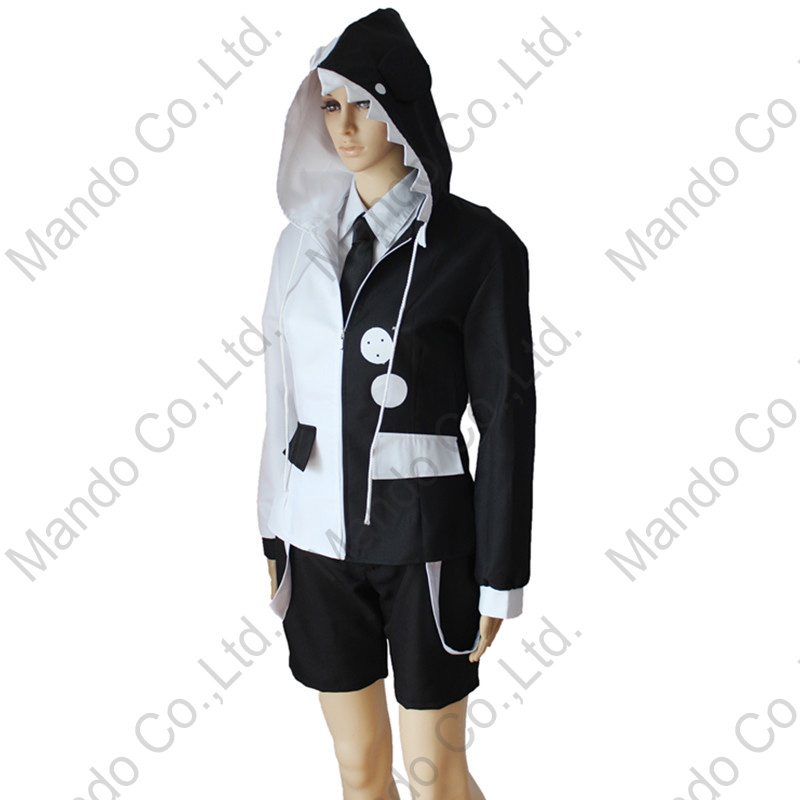 Anime Dangan Ronpa Danganronpa Momokuma Cosplay Costumes Black and White Monokuma Hoodie + shorts halloween Carnival Outfit 3pcs
