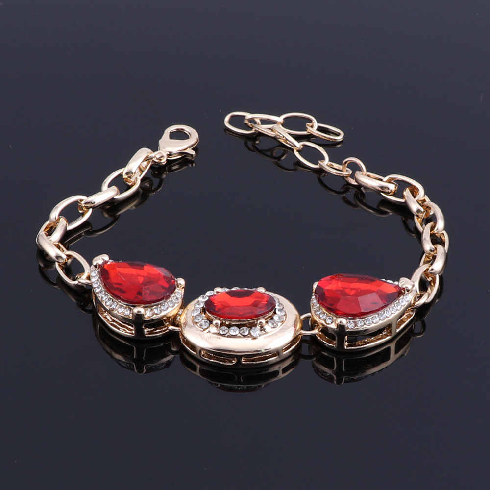 Red Crystal Costume Gold Color Jewelry Sets Women Bracelets Earrings With Stones Pendant&Necklace/Rings Set Jewelery