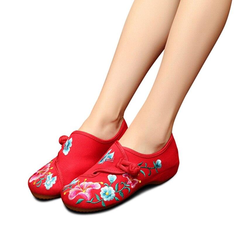 bleu Shoese1323 Toile Casual Fleurs Gloire Ballet rouge Beige Rétro Tissu Femmes Confort Matin Appartements Femme Coton Brodé Ceyaneaohandmade noir 4q1TB