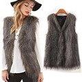 Top brand women Outerwear & Coats vest women Sleeveless Coat Outerwear Long Hair Jacket Waistcoat chalecos mujer coats #48
