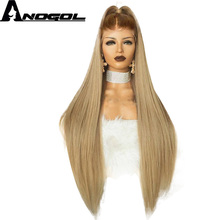 Anogol High Temperature Fiber Peruca Long Straight Synthetic Hair Wig Brown Ombre Ash Blonde Swiss Lace Front Wigs for Cosplay should length dark root ash blonde lace front wig synthetic
