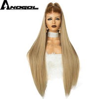 Anogol High Temperature Fiber Peruca Long Straight Synthetic Hair Wig Brown Ombre Ash Blonde Swiss Lace Front Wigs for Cosplay