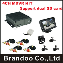 4CH MDVR,support dual sd card,for taxi,bus,driving school car,include 3pcs mini camera+1pcs IR camera