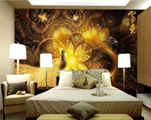 beibehang Custom fashion personality wallpaper rich auspicious beautiful golden peacock background wall for walls 3 d
