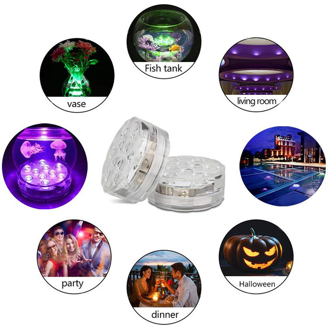 10 Led Remote Controlled RGB Submersible Light Battery Operated Underwater Night Lamp Outdoor Vase Bowl Garden Party Decoration 4