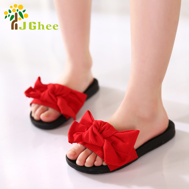 db9e3469df089 J Ghee 2018 New Hot Sale Girls Summer Shoes Kids Sandals Children s Slippers  Slides Cloth Big Bow-knot Bowtie Princess Shoes