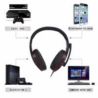 """pc עם 3.5 מ""""מ Wired Gaming אוזניות משחק אוזניות ביטול רעש אוזניות עם בקרת עוצמה מיקרופון עבור Play PS4 תחנת 4 PC (5)"""