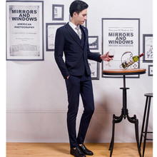 New hot sale man suit three-piece high quality wedding the groom classic style suits formal occasions (jacket + pants + vest)