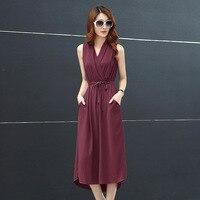 Hot Sale Solid Color Long Summer Dresses 5 Colors V Neck Slim Chiffon Dress Belt Office
