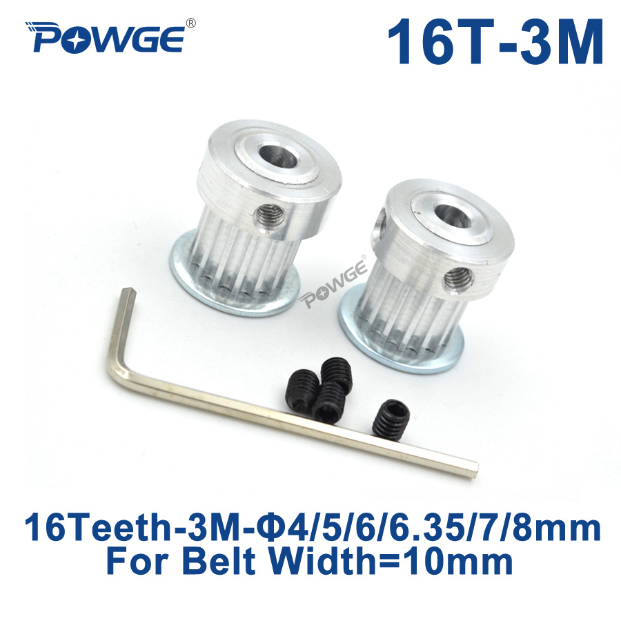 POWGE HTD 3M 16 Teeth Synchronous Timing Pulley Bore 4/5/6/6.35/7/8mm for Width 10mm 3M  belt HTD3M pulley gear 16Teeth 16TPOWGE HTD 3M 16 Teeth Synchronous Timing Pulley Bore 4/5/6/6.35/7/8mm for Width 10mm 3M  belt HTD3M pulley gear 16Teeth 16T