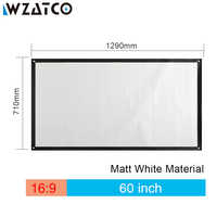 WZATCO HD Projector Screen 60 72 100 inch 16:9 Matt White Portable Screen Front Projection Screen For XGIMI C80 Projector