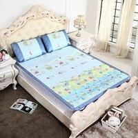 Keythemelife 3 pcs/set Hello Kitty Sleeping Mat Folding Mattress Linen Mat Silk Ice Cool Summer Bedding with 2 Pillowcases DA