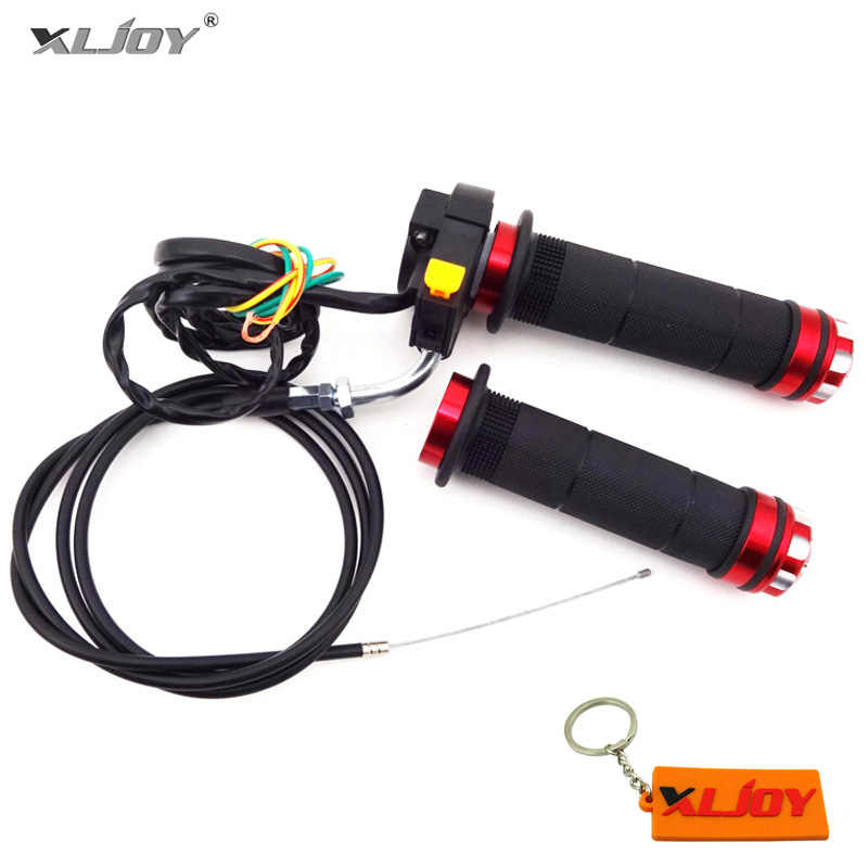 XLJOY Throttle Cable + Red Handle Grips + Kill Stop Switch For 2 Stroke 49cc 50cc 60cc 66cc 80cc Gas Motorized Bicycle Push Bike