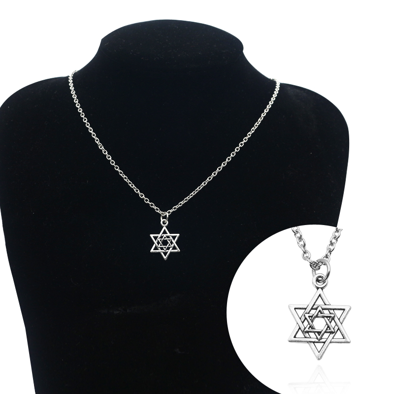New Steampunk Six Pointed Star Pendant Necklace Tiny Silver Hollow Inverted Triangle Man David Star Pendant Necklace Woman Gift in Pendant Necklaces from Jewelry Accessories