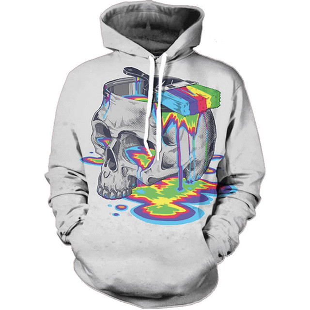 Sweat Capuche Hoodies 3D Crâne Graffiti