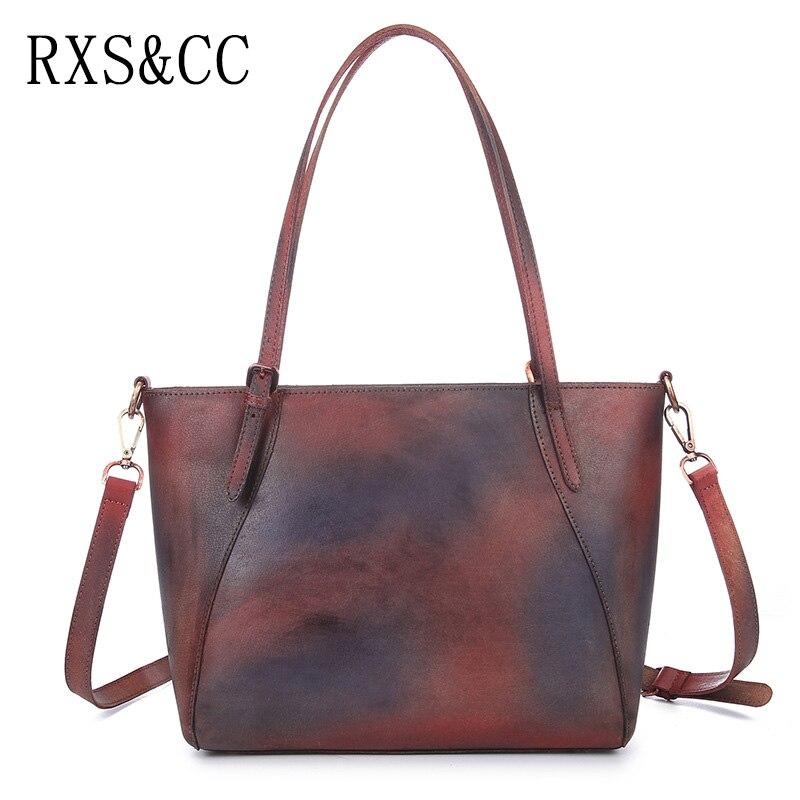 RXS&CC 2018 New Ms. Tote Original Hand-brushed Design Leather Shoulder Bag Retro Shopping Bag Messenger Bag
