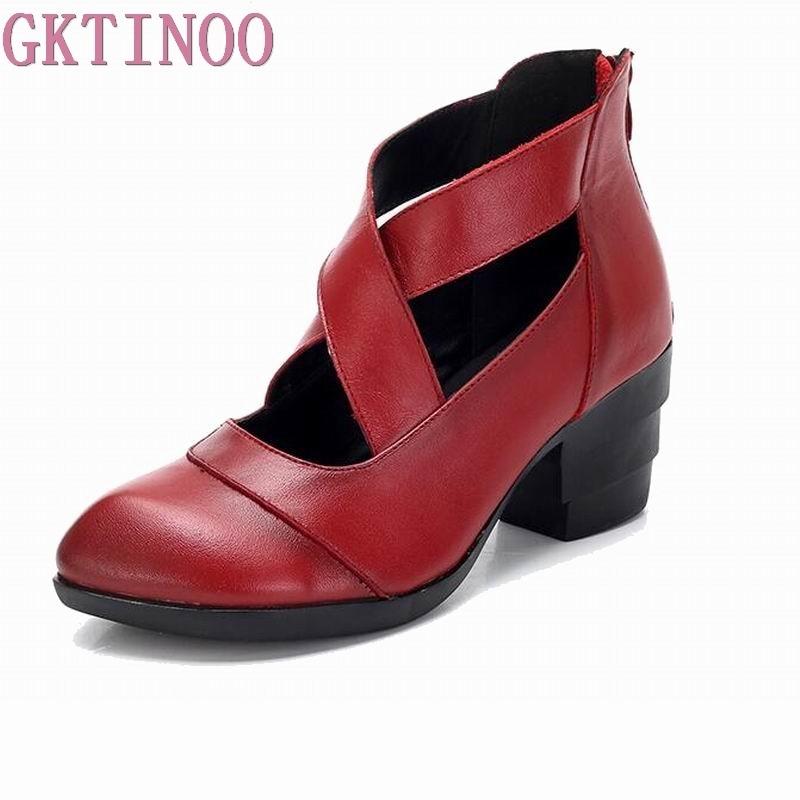 GKTINOO 2019 Estilo Vintage correas cruzadas zapatos de mujer hechos a mano zapatos de tacón alto de cuero genuino zapatos puntiagudos-in Zapatos de tacón de mujer from zapatos    1