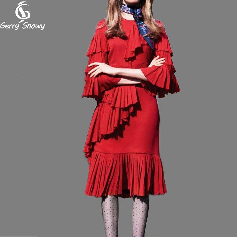 Vague 2018 Dimensions Flare Soirée En Lotus L'europe Robes Trois Robe Volants De Femmes Rouge Feuille D'été Fois Manches wE4qxyCOSP