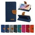 Жан Flip Leather Case For Samsung Galaxy J5 J7 Холст крышка Кошелек Для Samsung J5 2015 J7 2015 Cover Case мешки