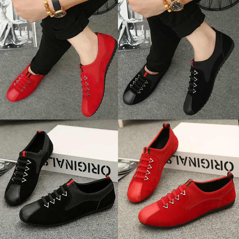 c4b9e07edb2 ... Ленивый красный горох парусиновая обувь модная повседневная мужская  обувь летние человек мужские кроссовки для мужчин черный ...