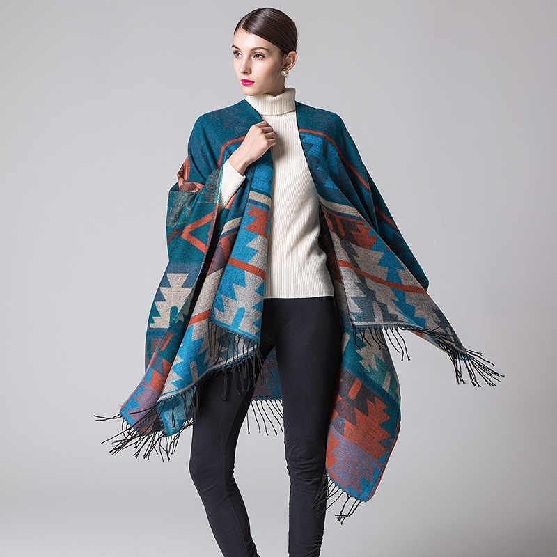 960660f3575 From India Ethnic Style Geometric Winter Women Scarf Warm Split Poncho Cap  Tassel Acrylic Air Conditioning